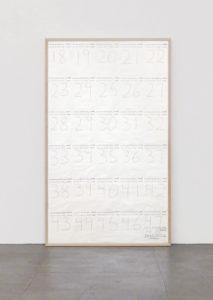 """<strong>Hanne Darboven </strong> <br>  Ohne Titel (Monatsarbeit), um 1993<br> 30-teilige Arbeit <br> Kugelschreiber auf Papier<br> je 20,5 x 14,5 cm<br> signiert und beschriftet """"happy birthday love hanne + mickey"""""""